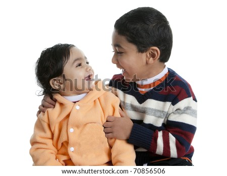 Siblings Sharing a Laugh, Isolated, White - stock photo