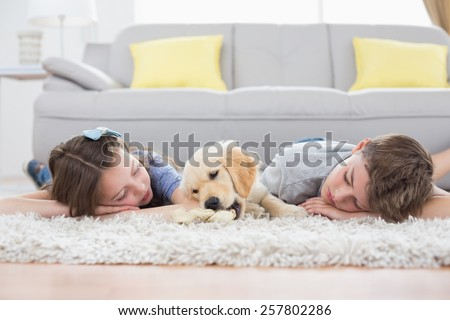 Siblings sleeping with dog on rug at home - stock photo