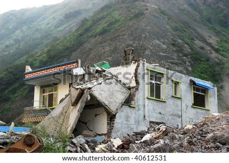 Sichuan Earthquake Ruins - stock photo