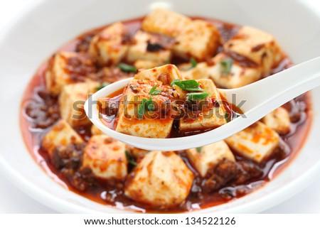 sichuan mapo tofu, chinese food - stock photo