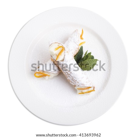 Sicilian cannoli with ricotta. Isolated on a white background. - stock photo