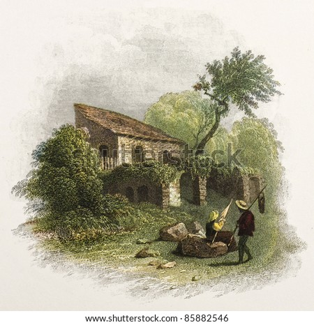 Sicilian cottage old illustration. Created by De Wint and Pye, printed by McQueen, publ. in London, 1821. Ed. on Sicilian Scenery, Rodwell and Martins, London, 1823 - stock photo