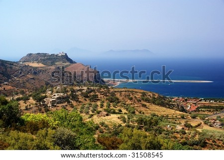 Sicilian sea coast with islands near cape Tindari