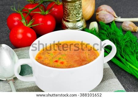 Sicilian Tomato Soup. National Italian Cuisine. Studio Photo - stock photo
