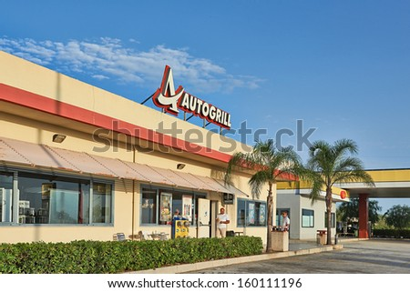 Sicily, Italy - SEPTEMBER 11, 2013: Autogrill restaurant and shop in Italy,Sicily. Autogrill is an Italian-based, multinational catering and retail company.  - stock photo