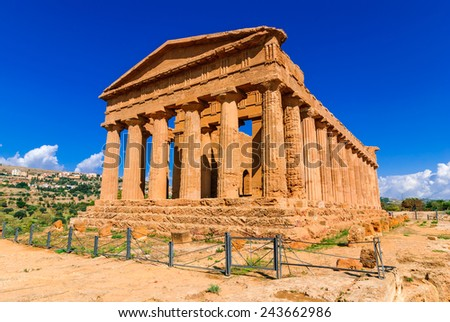 Sicily. Temple of Concord with 34 columns one of the best preserved greek Doric temples in the world, Valle dei Tiempli in Agrigento, Italy. - stock photo