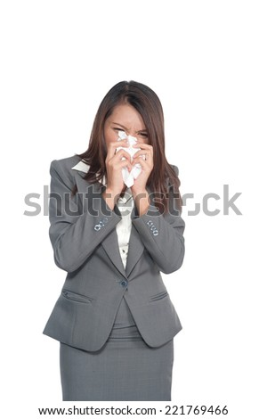sick business woman sneezing due to flu, cold, allergy, white isolated background ,clipping path - stock photo