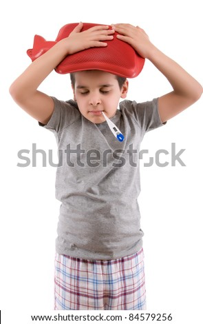 Sick child with thermometer in his mouth. - stock photo