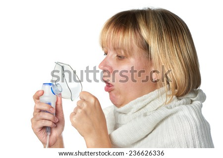 Sick cough woman holding inhaler isolated on white - stock photo