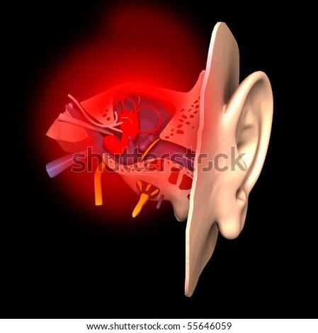 Sick ear - stock photo