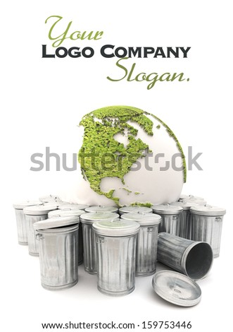 Sick earth showing America  in the dustbin - stock photo