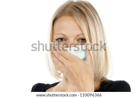 sick girl in a medical mask - stock photo