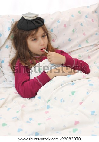 Sick girl in the bed - stock photo