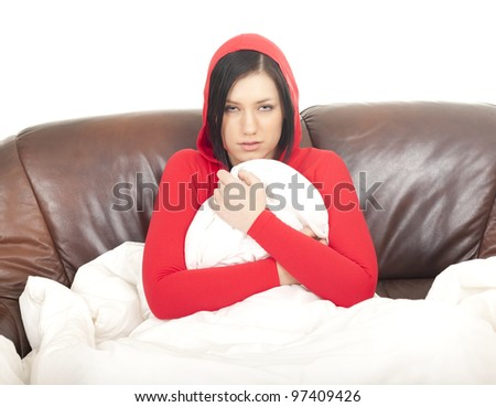 sick girl with cold or flu in white bedding - stock photo