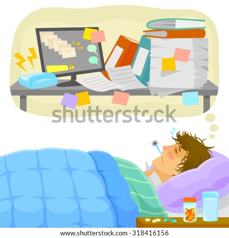 sick man lying in bed and thinking about all the work that piles up on his desk - stock photo