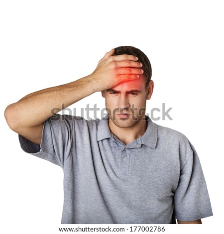 sick man touching his head with a hand - stock photo