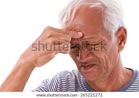 sick old man suffering from headache, migraine, dementia, mental disorder problem - stock photo
