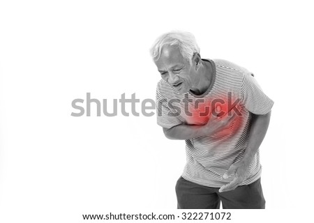 sick old man suffering from heart attack or breathing difficulties with red alert accent - stock photo