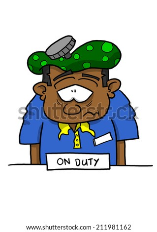 Sick on duty employee at counter dark skin - stock photo