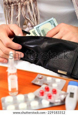 Sick Person checking the Wallet with the Pills on foreground closeup - stock photo