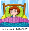 sick person lying in bed (raster version) - stock vector