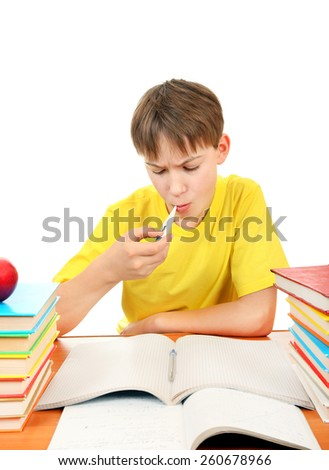 Sick Schoolboy with Thermometer and Books on the White Background - stock photo