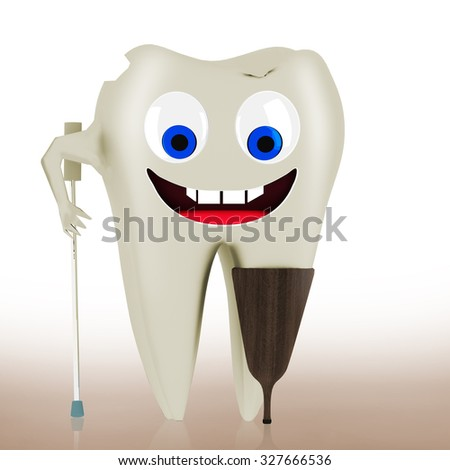 Sick tooth with face and wooden prosthesis - stock photo