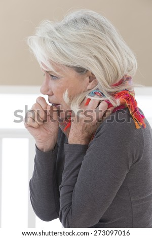 Sick woman coughing with sore throat - stock photo