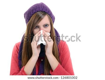 Sick Woman.Flu.Woman Caught Cold. Sneezing into handkerchief. Headache. Virus .Medicines - stock photo