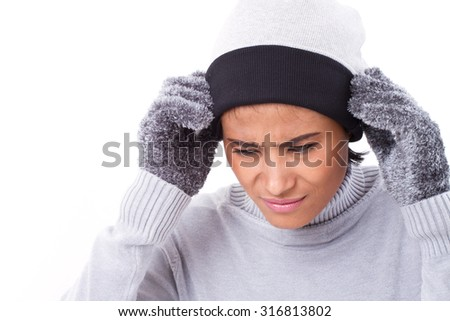 sick woman suffering from headache - stock photo
