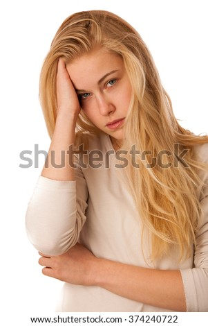Sick woman with flu, fever and headache or migraine isolated over white background. - stock photo