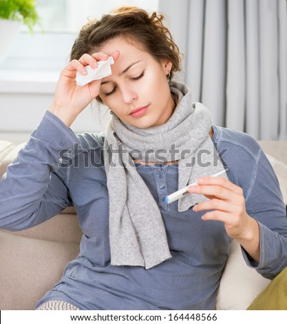 Sick Woman with Thermometer. Headache. Flu. Woman Caught Cold. Virus  - stock photo