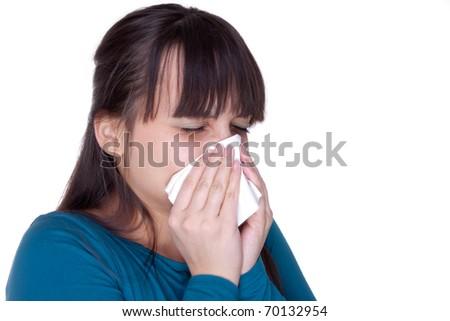 Sick woman with tissue on white - stock photo