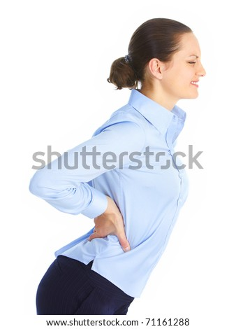 Sick young woman. Back pain. - stock photo
