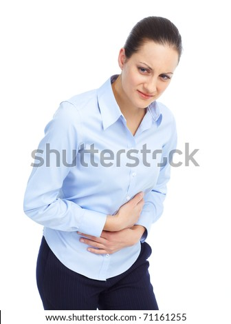 Sick young woman. Stomach pain. - stock photo