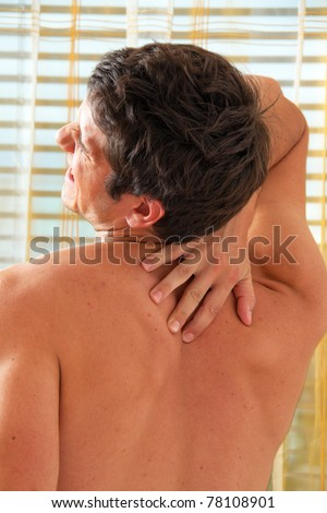 Sickness caused by pain in the back. Intervertebral disc and spinal column. - stock photo