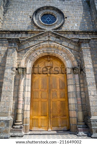 Side door entrance to the Cathedral of Guaranda, Ecuador - stock photo