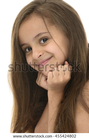 Side Face Portrait of Attractive Young Girl With Beautiful Smile Isolated on White Background - stock photo