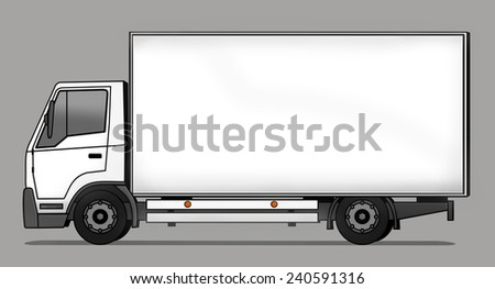 Side illustration of delivery truck - stock photo
