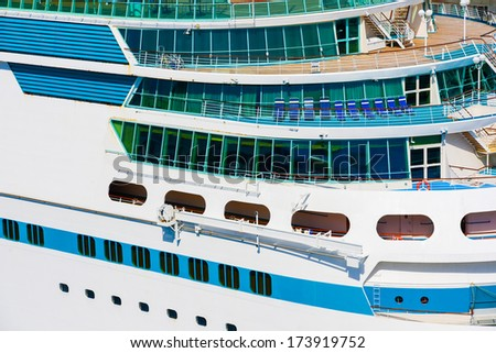 Side of a cruise ship in a summer day - stock photo