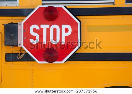 Side of a School Bus with Stop Sign for background
