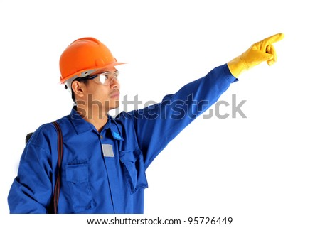Side of asia worker man pointing up isolated on white background
