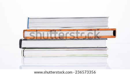 Side of book on white background - stock photo