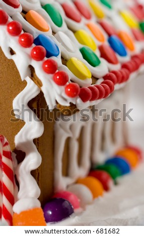 side of gingerbread house - stock photo