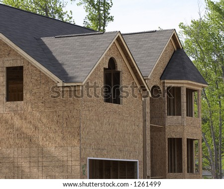 side of house under construction - stock photo