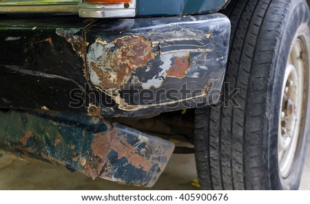 Side of the car  demolished due to an accident with another vehicle - stock photo