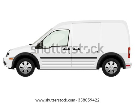 Side of the light commercial vehicle on a white background - stock photo