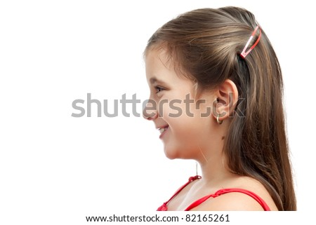 Side portrait of a beautiful latin girl smiling isolated on a white background