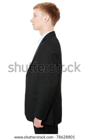 Side portrait of businessman, isolated on white - stock photo