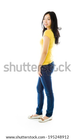 Side profile of an Asian young woman smiling - stock photo